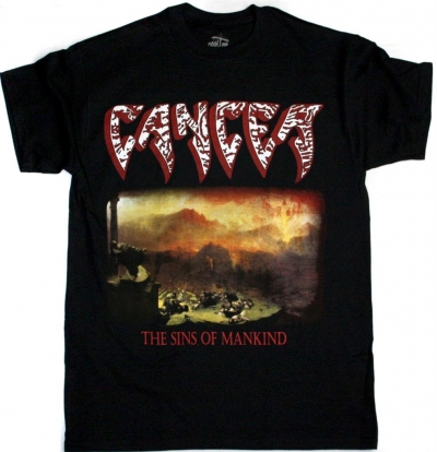 CANCER THE SINS OF MANKIND '93  NEW BLACK T-SHIRT