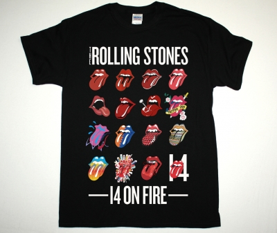 ROLLING STONES 14 ON FIRE TONGUE EVOLUTION TOUR 2014 NEW BLACK T-SHIRT