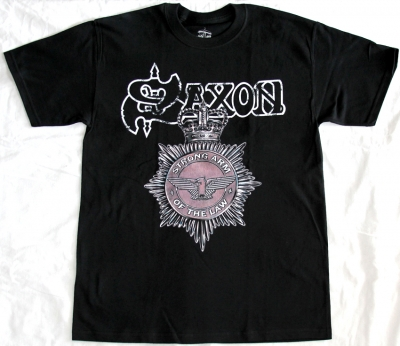 SAXON STRONG ARM OF THE LAW '80 NEW BLACK T-SHIRT