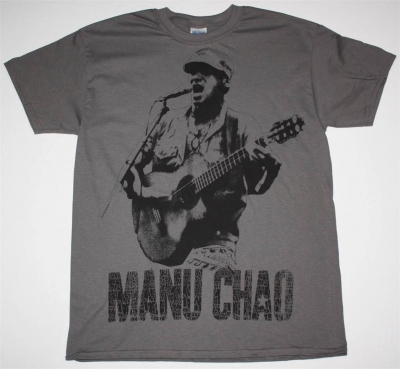 MANU CHAO EN VIVO JUMBO PRINT NEW GREY CHARCOAL  T-SHIRT