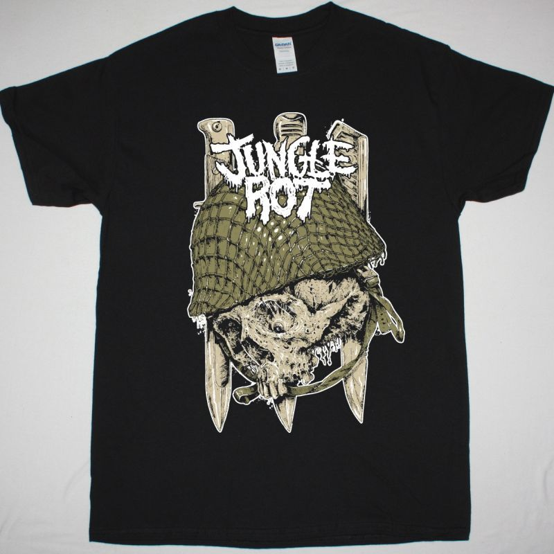 JUNGLE ROT SKULL NEW BLACK T SHIRT
