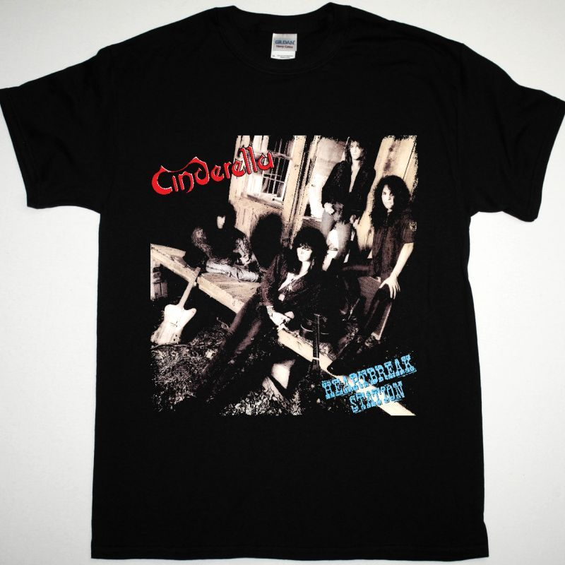 CINDERELLA HEARTBREAK STATION NEW BLACK T SHIRT