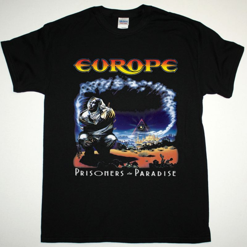 EUROPE PRISONERS IN PARADISE NEW BLACK T-SHIRT