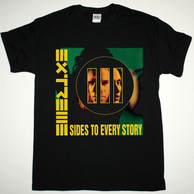 EXTREME III SIDES TO EVERY STORY NEW BLACK T-SHIRT