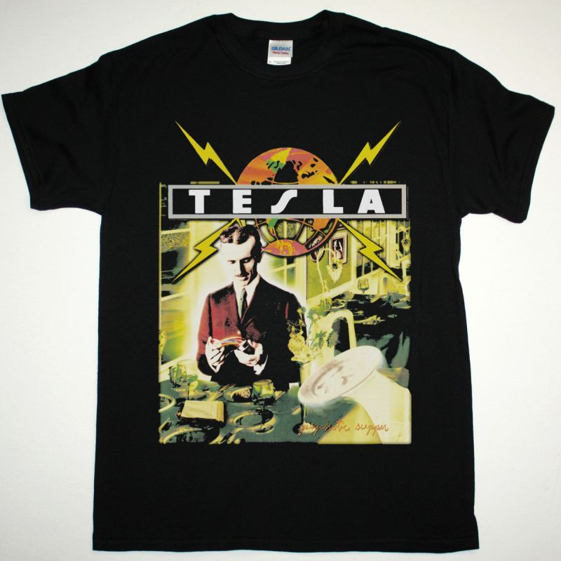 TESLA PSYCHOTIC SUPPER NEW BLACK T-SHIRT