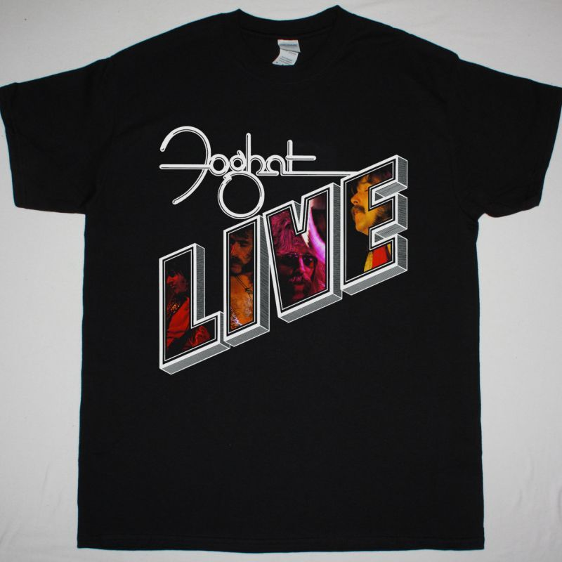 FOGHAT LIVE 1977 NEW BLACK T SHIRT