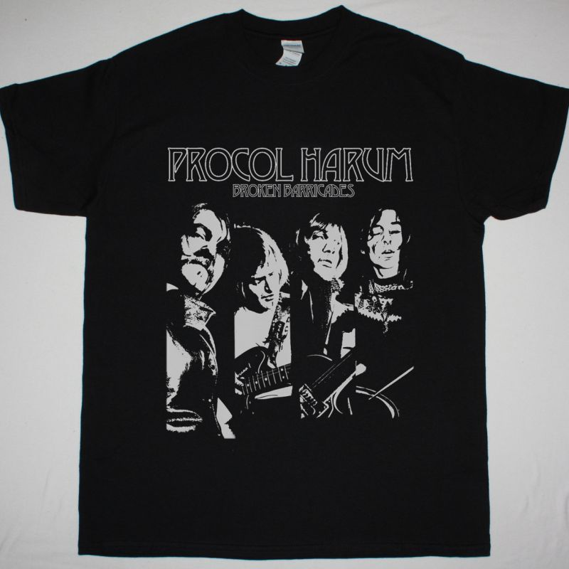 PROCOL HARUM BROKEN BARRICADES 1971 NEW BLACK T SHIRT