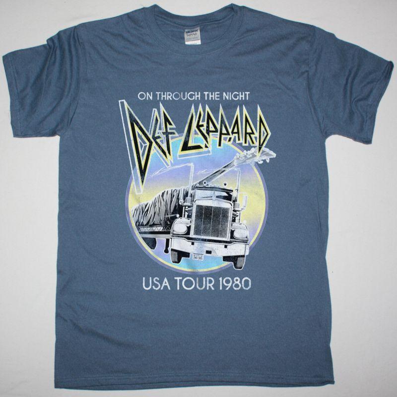 DEF LEPPARD ON THROUGH THE NIGHT USA TOUR 1980 NEW INDIGO BLUET SHIRT