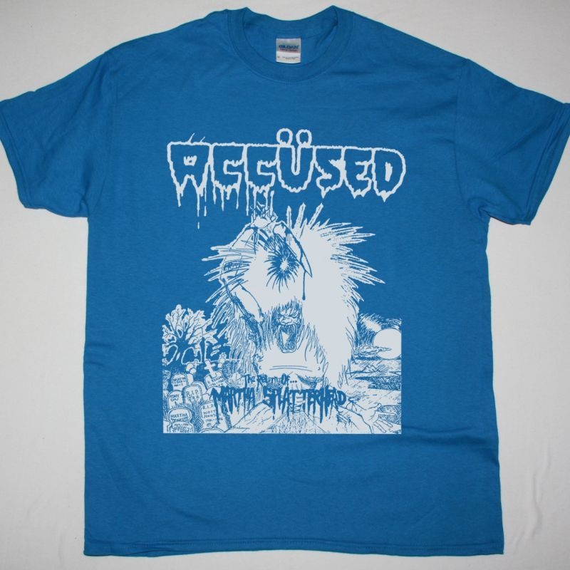 THE ACCÜSED THE RETURN OF… MARTHA SPLATTERHEAD 1986 NEW SAPPHIRE BLUE T SHIRT