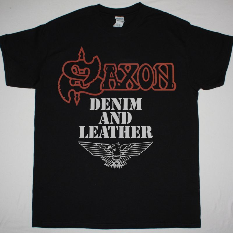 SAXON DENIM AND LEATHER 1981 NEW BLACK T SHIRT