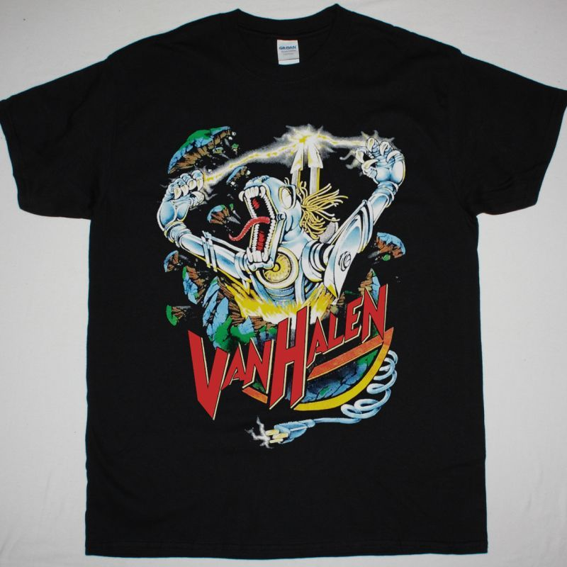 VAN HALEN KICKS ASS ROBOT DINOSAUR NEW BLACK T SHIRT