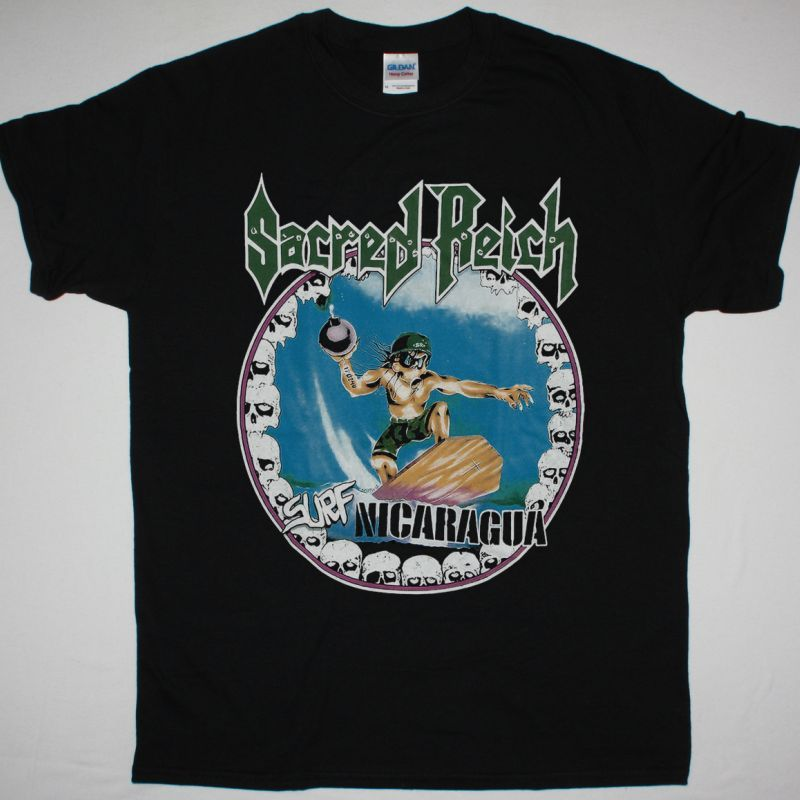 SACRED REICH SURF NICARAGUA NEW BLACK T-SHIRT