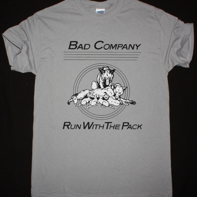 BAD COMPANY RUN WITH THE PACK NEW LIGHT GREY T SHIRT