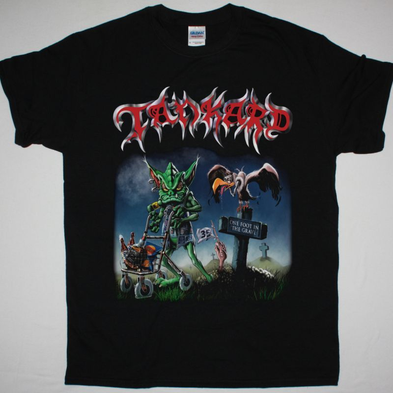 TANKARD ONE FOOT IN THE GRAVE NEW BLACK T-SHIRT
