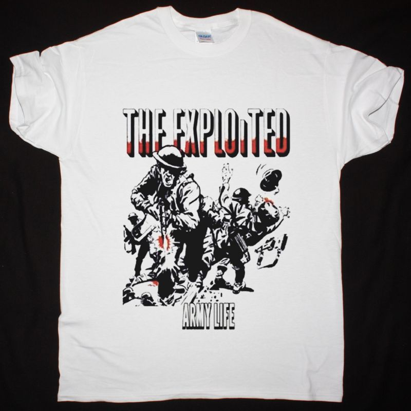THE EXPLOITED ARMY LIFE NEW WHITE T SHIRT