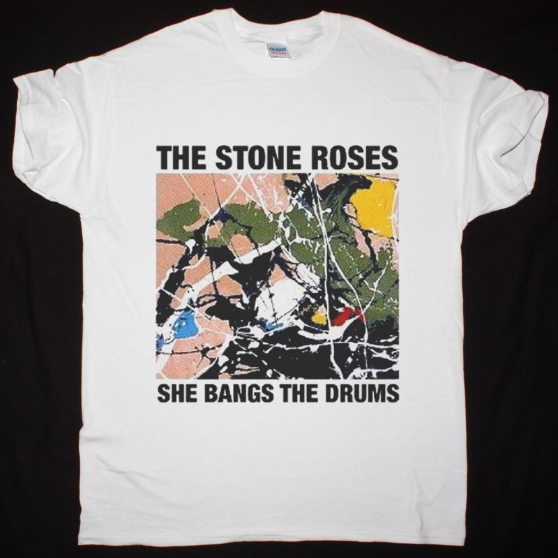 THE STONE ROSES SHE BANGS THE DRUMS NEW WHITE T-SHIRT