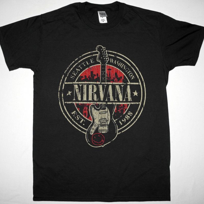 NIRVANA SEATTLE NEW BLACK T-SHIRT