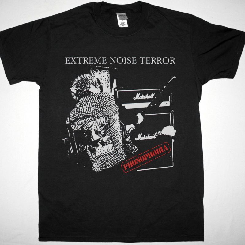 EXTREME NOISE TERROR PHONOPHOBIA NEW BLACK T SHIRT