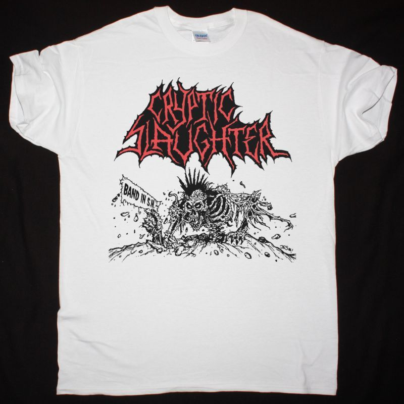 CRYPTIC SLAUGHTER BAND IN S.M. NEW WHITE T-SHIRT
