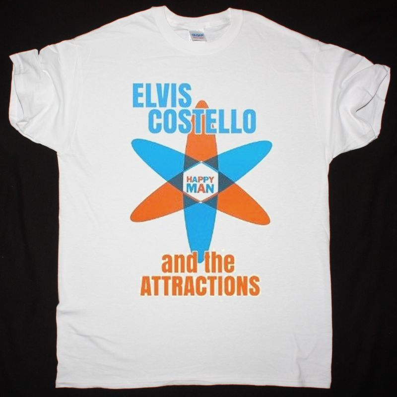 ELVIS COSTELLO AND THE ATTRACTIONS GET HAPPY NEW WHITE T SHIRT