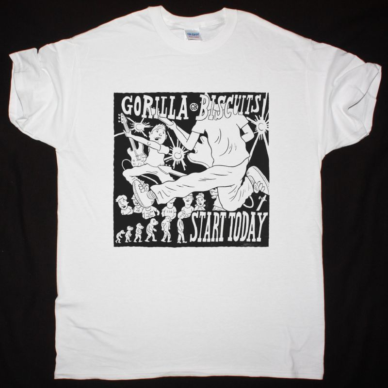 GORILLA BISCUITS START TODAY NEW WHITE T SHIRT