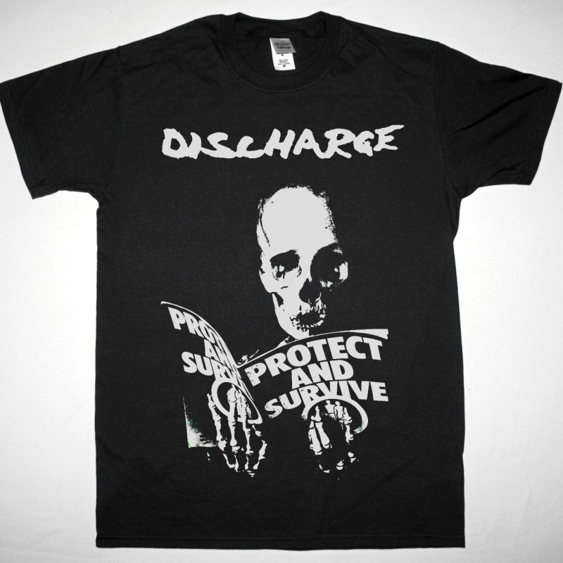DISCHARGE PROTECT AND SURVIVE NEW BLACK T SHIRT