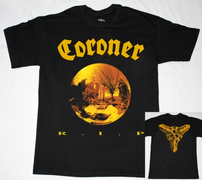 CORONER R.I.P. '87 NEW BLACK T-SHIRT