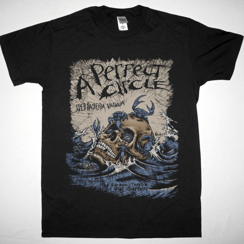 A PERFECT CIRCLE BED BACTERIA VACUUM NEW BLACK T-SHIRT