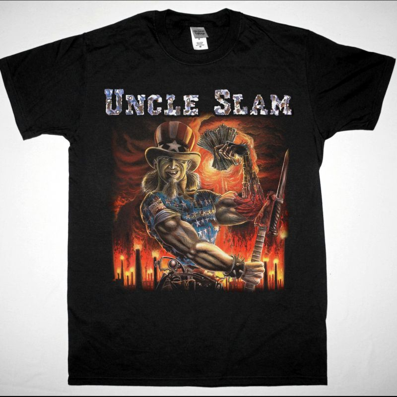 UNCLE SLAM SAY UNCLE 1988 NEW BLACK T-SHIRT