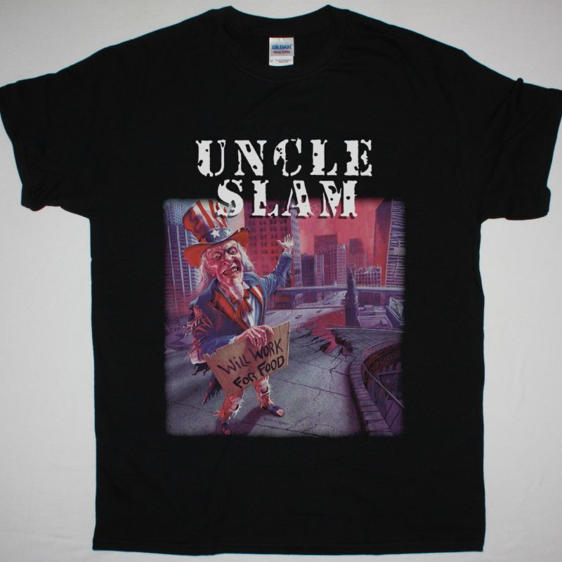 UNCLE SLAM WILL WORK FOR FOOD 1993 NEW BLACK T-SHIRT