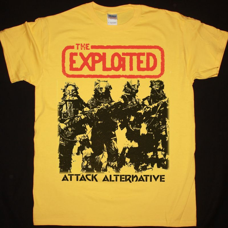 THE EXPLOITED ATTACK ALTERNATIVE NEW YELLOW T SHIRT