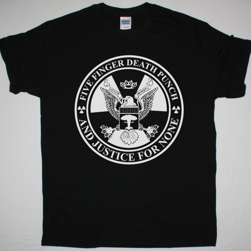 FIVE FINGER DEATH PUNCH AND JUSTICE FOR NONE NEW BLACK T-SHIRT