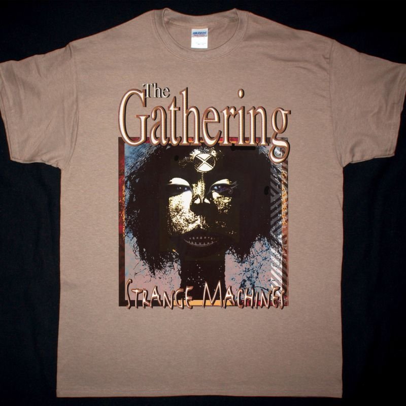 THE GATHERING STRANGE MACHINES NEW BROWN T-SHIRT