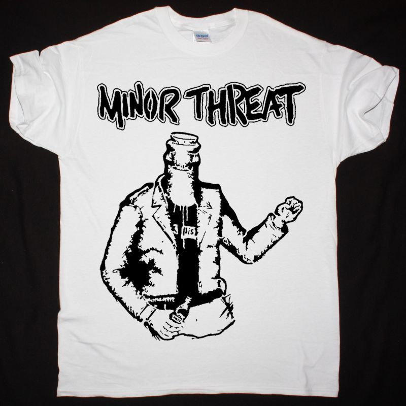 MINOR THREAT BOOTLEMAN WHITE NEW WHITE T SHIRT