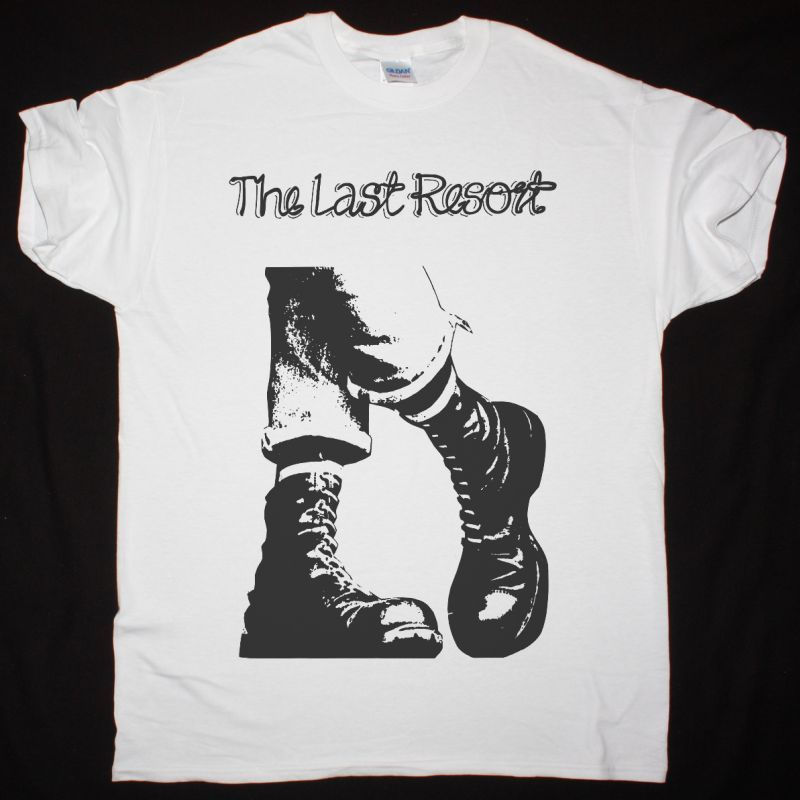 THE LAST RESORT BOOTS NEW WHITE T SHIRT