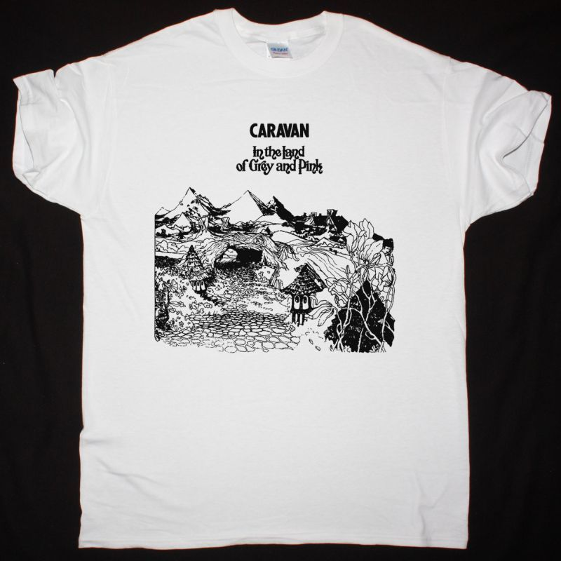 CARAVAN IN THE LAND OF GREY AND PINK NEW WHITE T-SHIRT