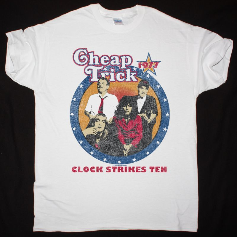 CHEAP TRICK CLOCK STRIKES TEN NEW WHITE T-SHIRT