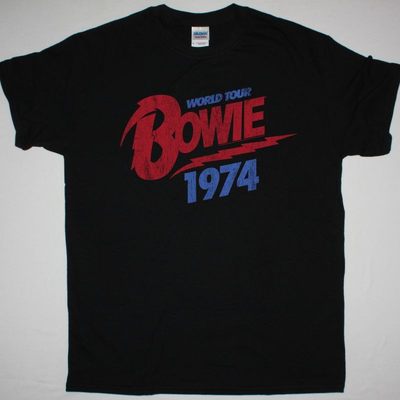 DAVID BOWIE 1974 WORLD TOUR NEW BLACK T-SHIRT