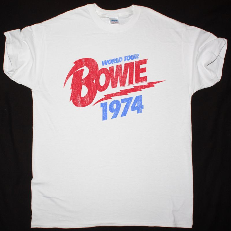 DAVID BOWIE 1974 WORLD TOUR NEW WHITE T-SHIRT
