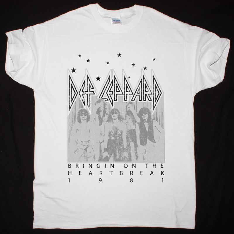 DEF LEPPARD BRINGIN' ON THE HEARTBREAK NEW WHITE T SHIRT