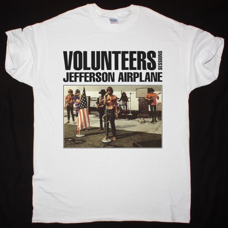 JEFFERSON AIRPLANE VOLUNTEERS SESSIONS NEW WHITE T-SHIRT