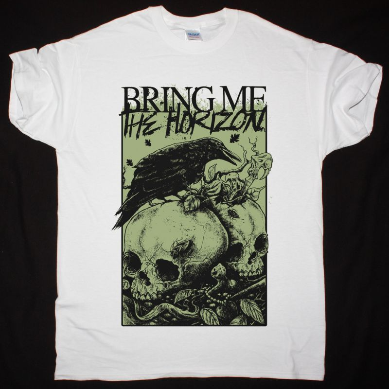 BRING ME THE HORIZON RAVEN AND SKULLS BMTH NEW WHITE T-SHIRT