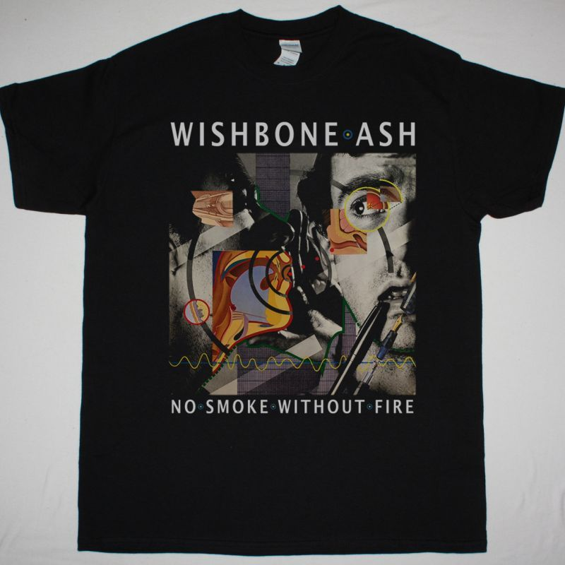 WISHBONE ASH NO SMOKE WITHOUT FIRE 1978 NEW BLACK T SHIRT