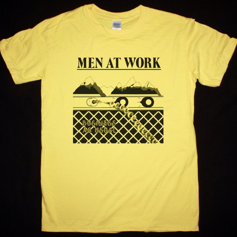 MEN AT WORK BUSINESS AS USUAL NEW YELLOW T-SHIRT