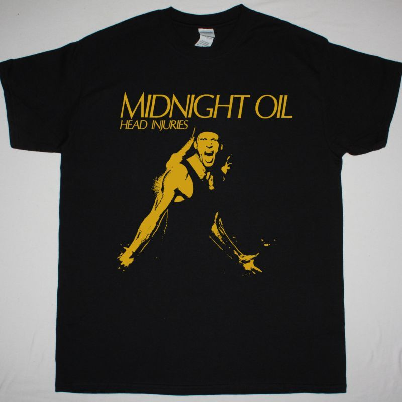 MIDNIGHT OIL HEAD INJURIES NEW BLACK T-SHIRT