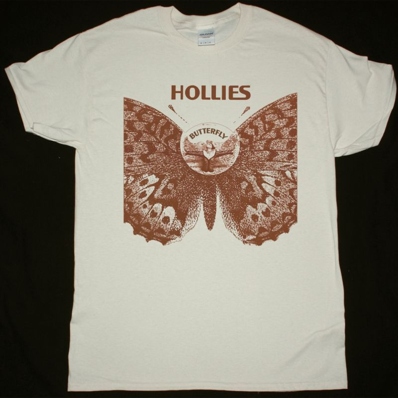 THE HOLLIES BUTTERFLY NEW NATURAL T SHIRT