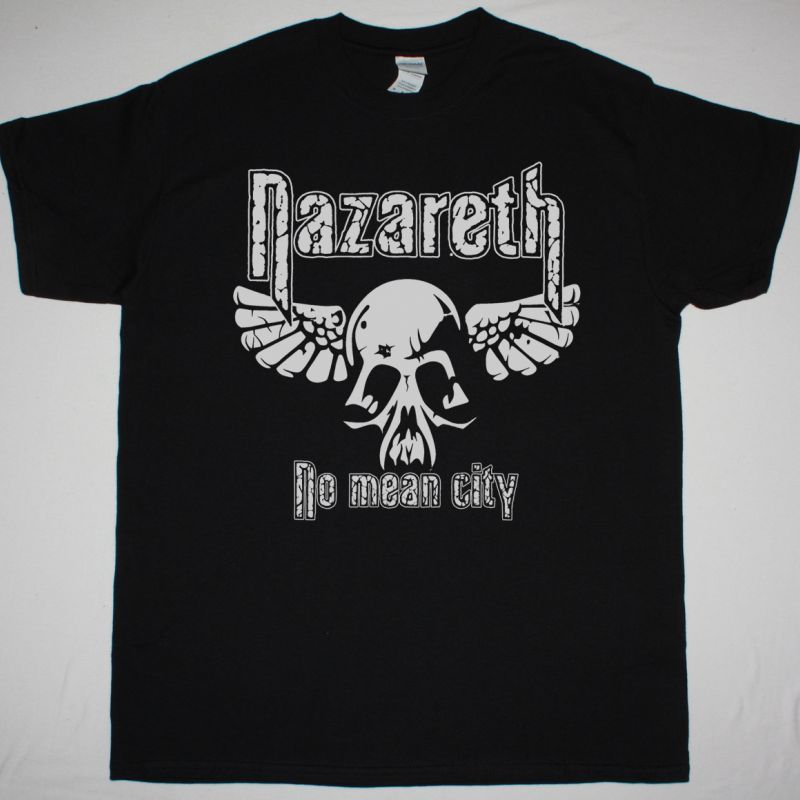 NAZARETH NO MEAN CITY SKULL NEW BLACK T-SHIRT