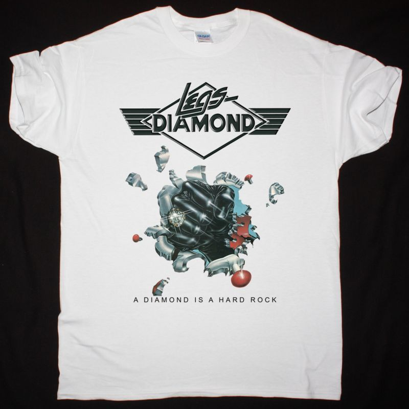 LEGS DIAMOND A DIAMOND IS A HARD ROCK 1977 NEW WHITE T-SHIRT