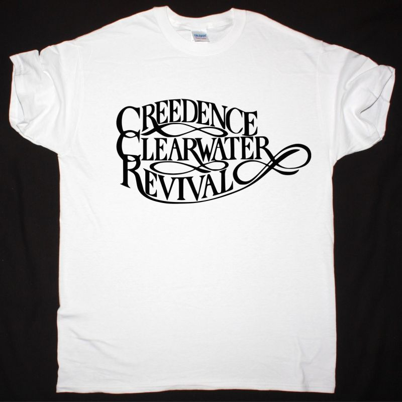 CREEDENCE CLEARWATER REVIVAL LOGO NEW WHITE T-SHIRT