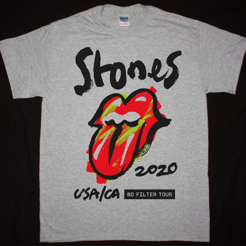 THE ROLLING STONES NO FILTER USA/CA TOUR NEW SPORT GREY T-SHIRT